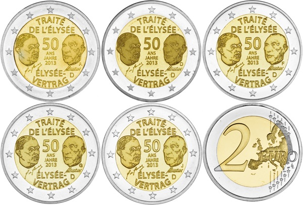 Germany 2013 2 Euro 50th anniversary of the signing of the Elysee Treaty ADFGJ