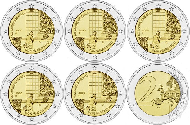 Germany 2020 2 Euro 50th anniversary of the Warsaw genuflection ADFGJ 5 coins UN