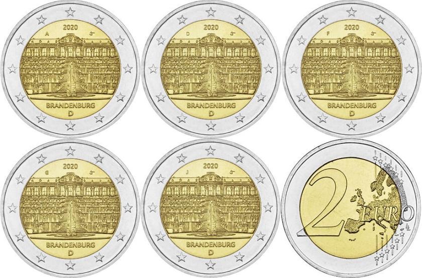 Germany 2020 2 Euro Sanssouci palace ADFGJ 5 coins UNC