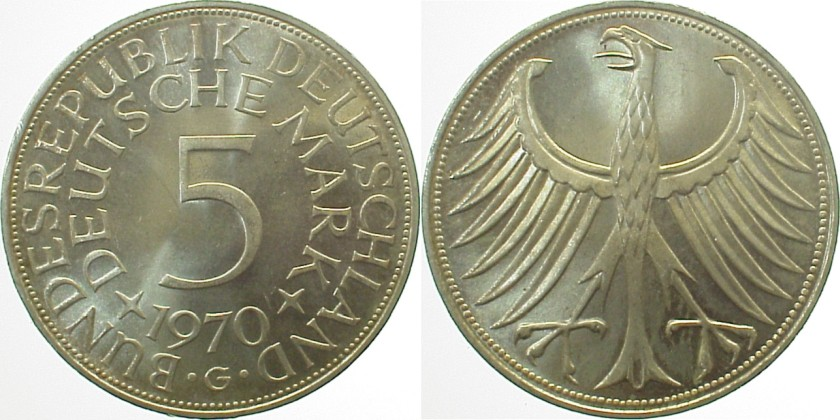 Germany 1970 KM# 112.1 G 5 Deutsche Mark UNC