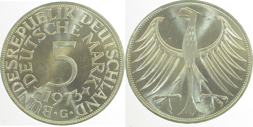 Germany 1973 KM# 112.1 G 5 Deutsche Mark UNC