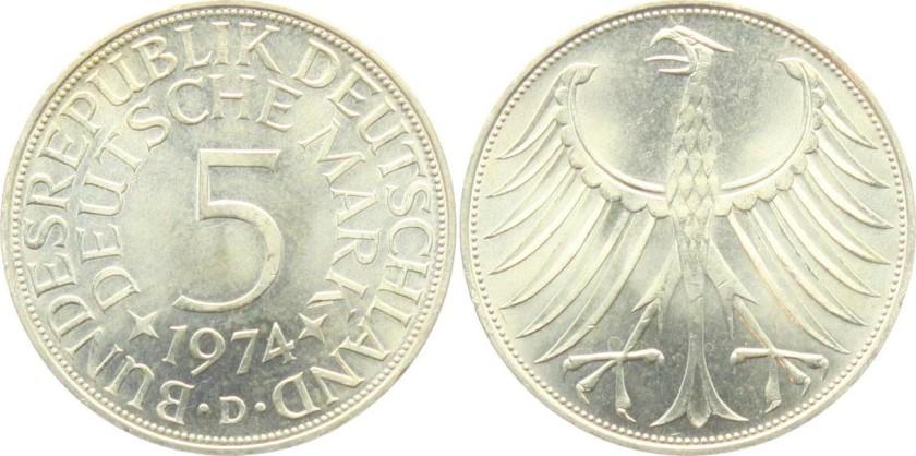 Germany 1974 KM# 112.1 D 5 Deutsche Mark UNC