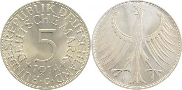 Germany 1974 KM# 112.1 G 5 Deutsche Mark UNC