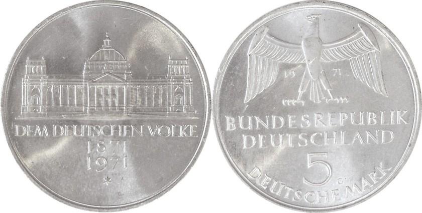 Germany 1971 KM# 128 G 5 Deutsche Mark UNC