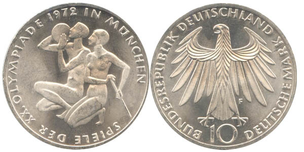 Germany 1972 KM# 132 F 10 Deutsche Mark UNC