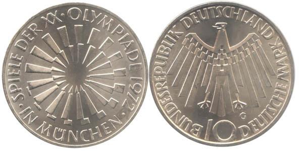 Germany 1972 KM# 134.1 G 10 Deutsche Mark UNC