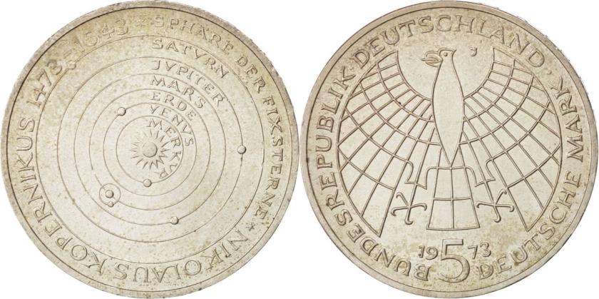 Germany 1973 KM# 136 J 5 Deutsche Mark UNC