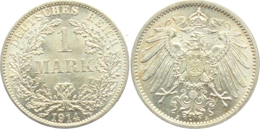 Germany 1914 KM# 14 1 Mark A AU-UNC