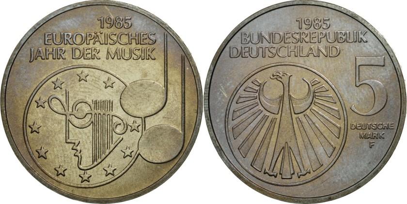 Germany 1985 KM# 162 F 5 Deutsche Mark UNC