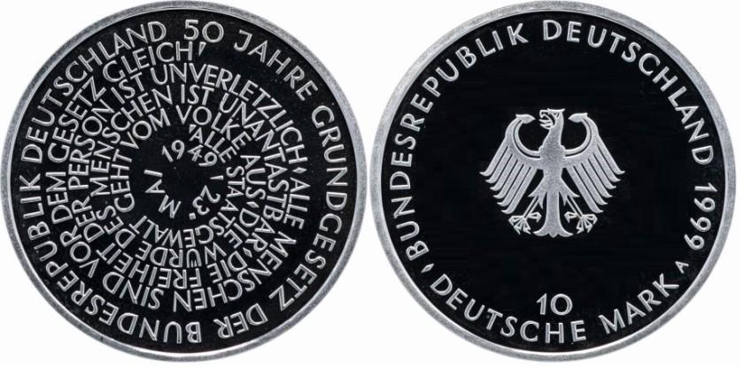 Germany 1999 KM# 196 A 10 Deutsche Mark Proof