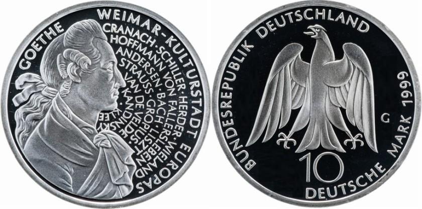 Germany 1999 KM# 197 G 10 Deutsche Mark Proof