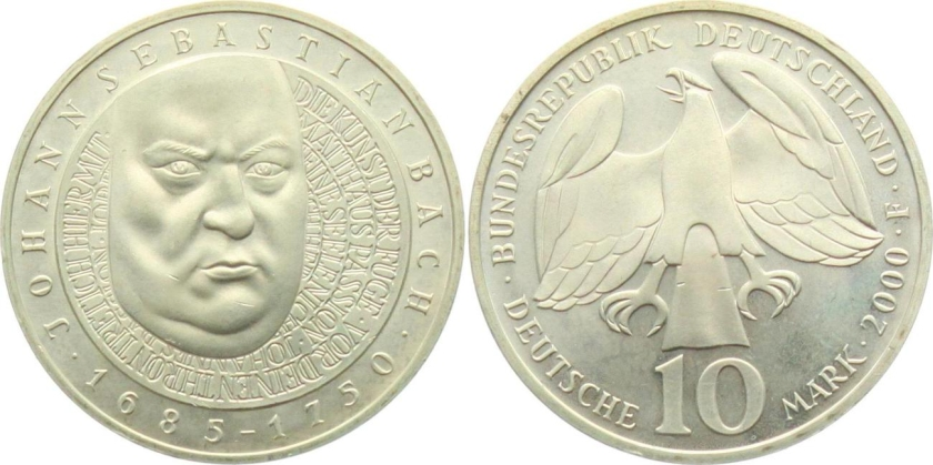 Germany 2000 KM# 202 F 10 Deutsche Mark UNC