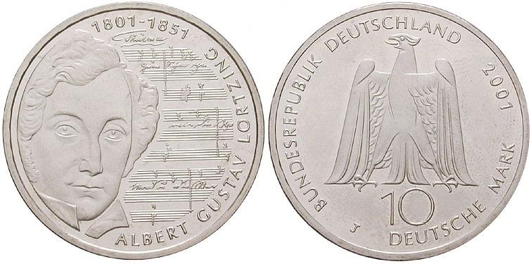 Germany 2001 KM# 205 J 10 Deutsche Mark UNC