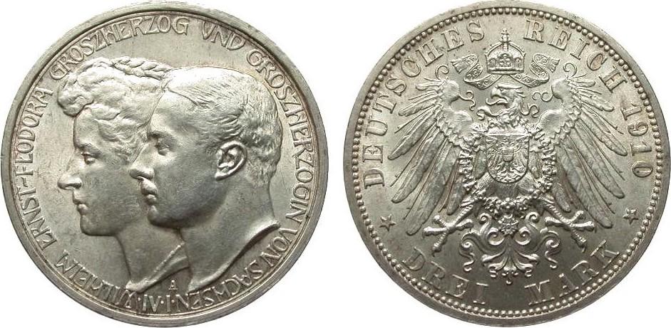 Germany 1910 KM# 221 3 Marks A AU++