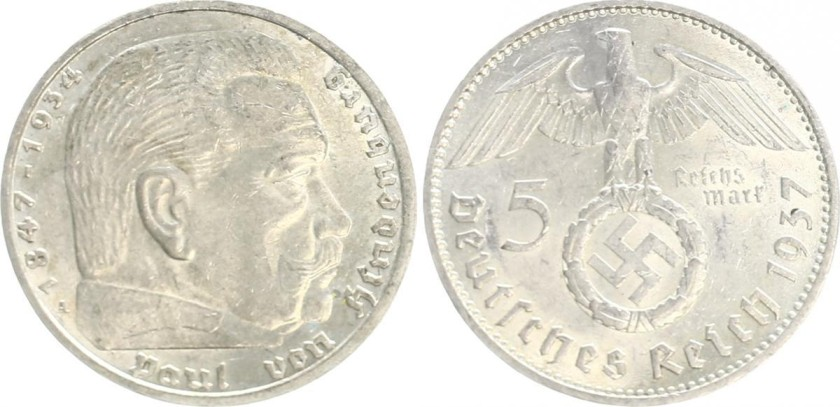 Germany 1937 KM# 94 A 5 Reichsmark AU