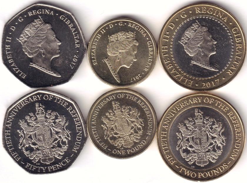 Gibraltar 2017 50 Pence, 1, 2 Pounds 3 coins UNC
