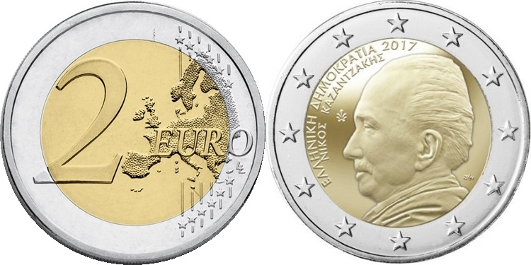 Greece 2017 2 Euro 60 years in memoriam of Nikos Kazantzakis UNC