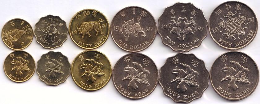Hong Kong 1997 6 coins UNC