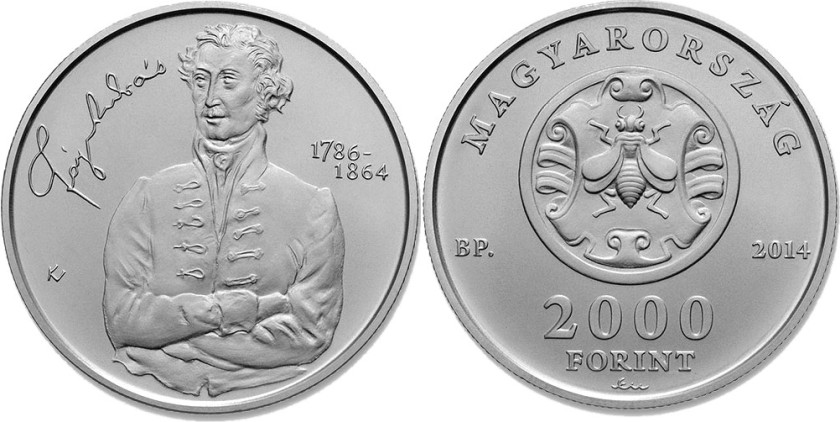 Hungary 2014 2000 Forint 150th Anniversary of Death of András Fáy BU