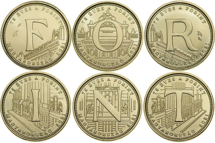 Hungary 2021 5 Forint 6 coins FORINT UNC