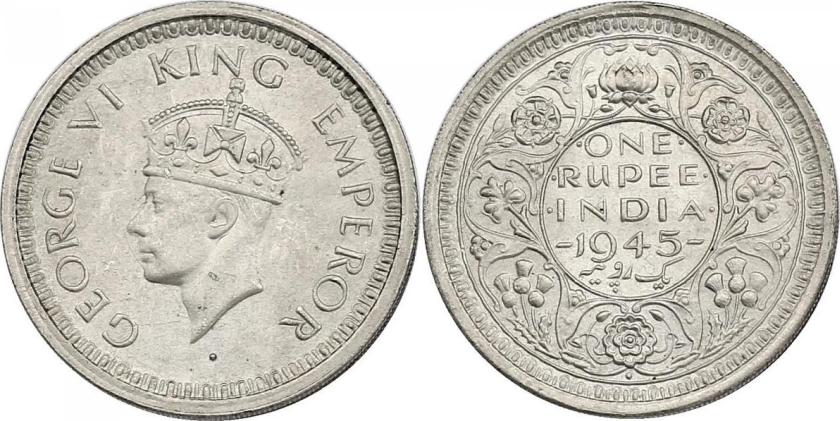 India 1945 KM# 557.1 1 Rupee UNC