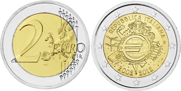Italy 2012 2 Euro Ten years of euro banknotes and coins UNC