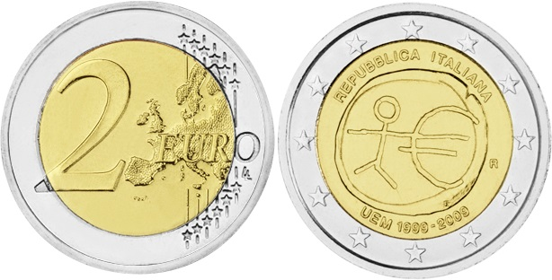 Italy 2009 2 Euro 10 Years of Monetary and Economic Union UNC