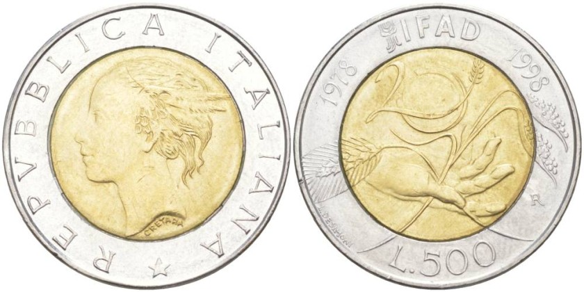 Italy 1998 KM# 193 500 Lire FAO UNC