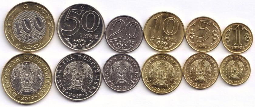 Kazakhstan 2019 1, 5, 10, 20, 50, 100 Tenge 6 coins UNC