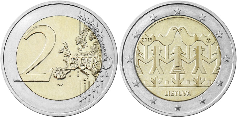 Lithuania 2018 2 Euro Song and Dance Celebration UNC