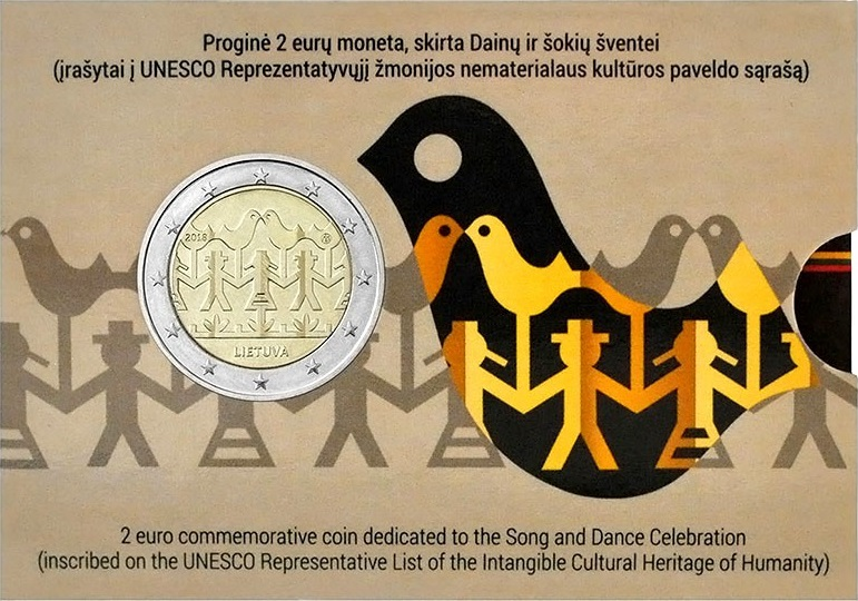 Lithuania 2018 2 Euro Song and Dance Celebration Coin Card BU