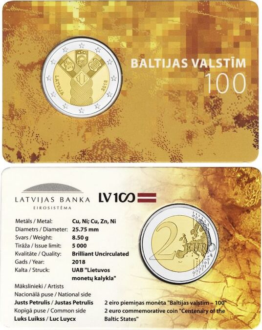 Latvia 2018 2 Euro The 100th anniversary of the Baltic States Coin Card BU