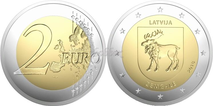 Latvia 2018 2 Euro Zemgale Coin Card BU
