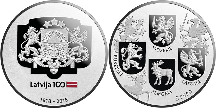 Latvia 2018 Coats of Arms Coin