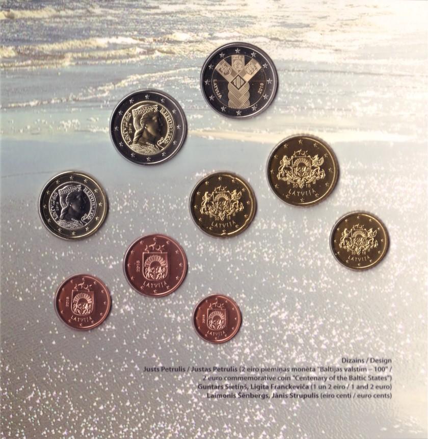 Latvia 2018 Mint set of Latvian euro coins