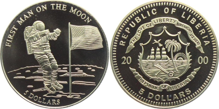 Liberia 2000 5 Dollars First Man on the Moon UNC