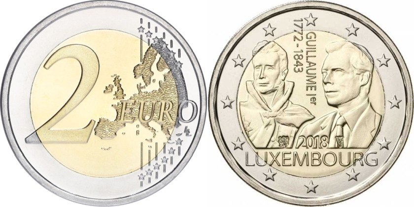 Luxembourg 2018 2 Euro 175th anniversary of the death of Grand Duke Guillaume I