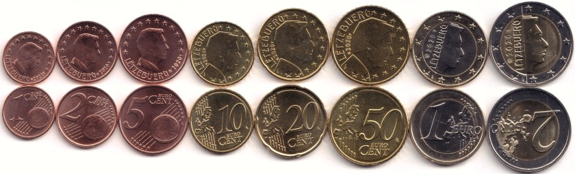 Luxembourg 2020 Euro coins set UNC