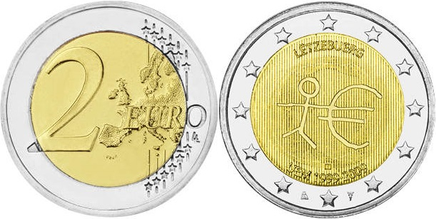 Luxembourg 2009 2 Euro 10 Years of Monetary and Economic Union UNC