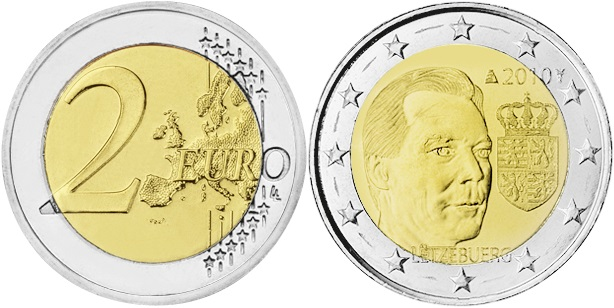 Luxembourg 2010 2 Euro Coat of arms of the Grand Duke UNC
