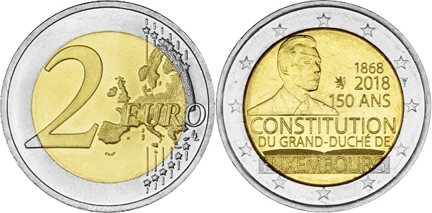 Luxembourg 2018 2 Euro The 150th anniversary of the Luxembourg Constitution UNC
