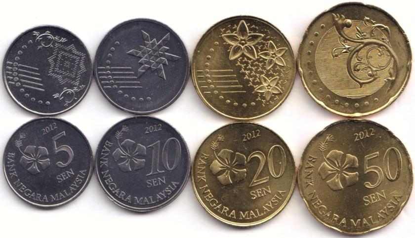 Malaysia 2012 KM# 201- 204 5, 10, 20, 50 Sen 4 coins UNC