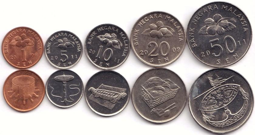 Malaysia 2006 - 2011 KM# 49 - 53 1, 5, 10, 20, 50 Sen 5 coins UNC