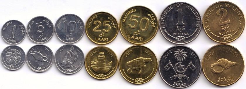 Maldives 2007 - 2012 7 coins UNC