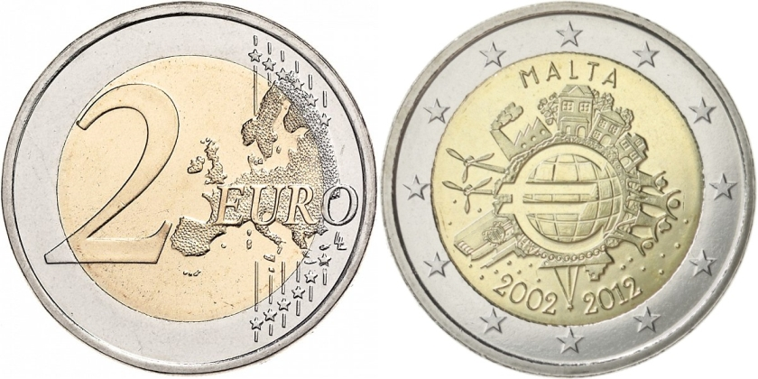 Malta 2012 2 Euro Ten years of euro banknotes and coins UNC
