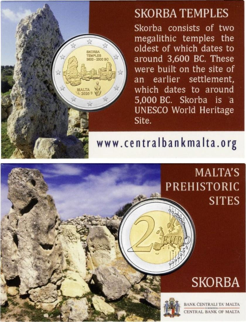 Malta 2020 2 Euro Temples of Skorba Coin Card BU