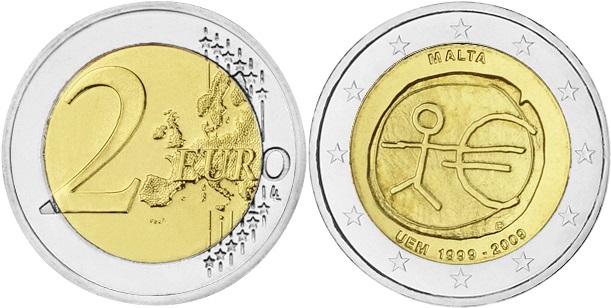 Malta 2009 2 Euro 10 Years of Monetary and Economic Union UNC