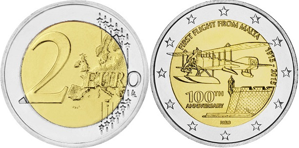 Malta 2015 2 Euro First flight from Malta UNC