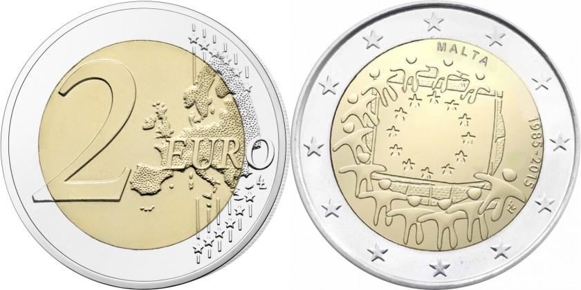 Malta 2015 2 Euro 30 Years of the European Union flag UNC
