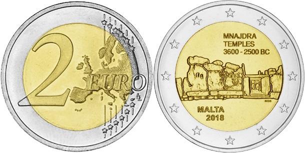 Malta 2018 2 Euro Temples of Mnajdra UNC